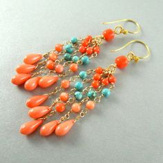 Coral and Turquoise Wire Wrapped Dangle Earrings by SurfAndSand, $142.00