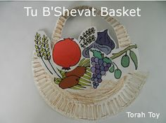 A great way to make a Tu B'Shevat basket out of paper plates...!
