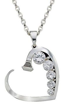 Cowgirl Chic!  Montana Silversmiths Silver Horseshoe Nail Heart with Crystals Necklace