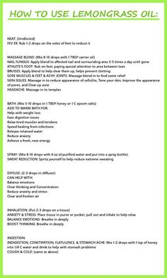 HOW TO USE LEMONGRASS OIL There are so many fantastic uses for Young Living Essential Oils!