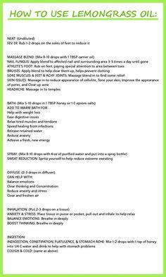 Lemongrass essential oil uses