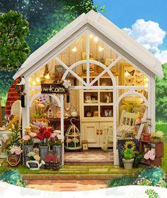 Sunshine Garden Greenhouse DIY Doll House - Furnished Miniature House w/ Lights - Wooden Dollhouse - Dollhouse Furniture Kit - Diy Project Dollhouse Furniture Kits, Wooden Dolls House Furniture, Dollhouse Kits, Wooden Dollhouse, Miniature Furniture, Dollhouse Miniatures, Small Greenhouse, Greenhouse Ideas, Greenhouse Wedding