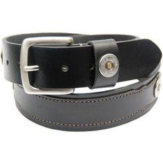Remington Brand Men's Shotgun shell emblem Genuine Leather 1.56 inch wide strap Belt, Black
