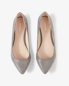 Snakeskin Print Pointed Toe Flat from EXPRESS