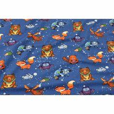 """JERSEY """" Ich liebe es bunt """" von Katinoh, auf blau bunt Elch, Fuchs, Muster, Tiere limitierte Auflage Jungs Mädchen Kinderstoff Baumwolljerseystoff"""