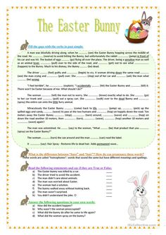 The Easter Bunny - funny reading, grammar, vocabulary - English ESL Worksheets for distance learning and physical classrooms Easter Worksheets, English Grammar Worksheets, Vocabulary Worksheets, Grammar And Vocabulary, Easter Jokes, Word Formation, Reading Comprehension Activities, Teaching Jobs, Reading Skills