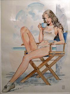 Manara per lingerie francese, in Ian.solo Art Gallery's Milo Manara Comic Art Gallery Room - 983291
