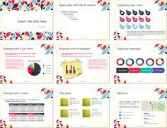 カラフルな水滴模様がオシャレなパワーポイントテンプレート Drops – Full Template for PowerPoint Pie Chart Examples, Ppt Template, Templates, Text Style, A Table, Presentation, Design, Stencils