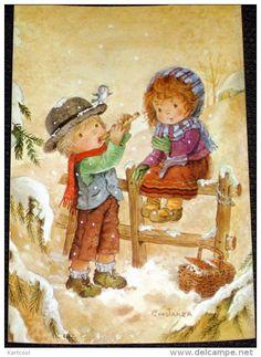 4 cartes Enfants sous la neige - dessin illustrateur - carte non écrite , comme neuve