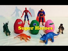 Play-doh Superhero Surprise Eggs With Superman Spiderman and Dinosaurs  ...