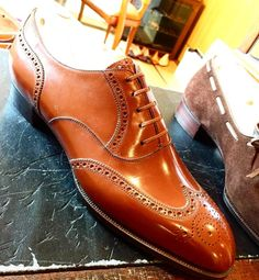 Bespoke tan Oxford brogues by Marquess shoemaker.