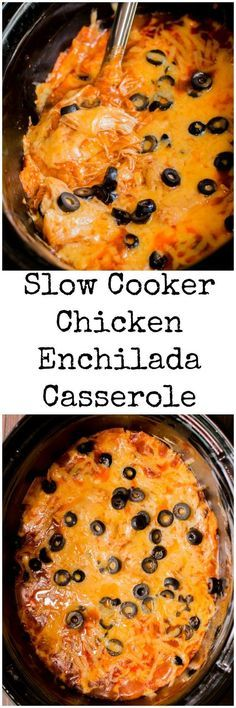 Slow Cooker Enchilada Casserole is the easiest one-pot recipe you will find for enchiladas. My Recipes, Mexican Food Recipes, Recipies, Snack Recipes, Favorite Recipes, Chicken Enchilada Casserole, Enchilada Sauce, Chicken Enchiladas, Slow Cooker Recipes
