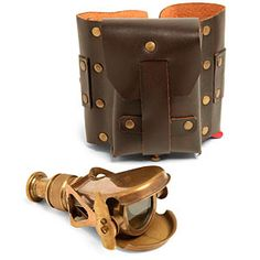 Fully functional, brass monocular with 2X magnification.  Weathered leather arm-pouch keeps the monocular always at hand.  Monocular opens with lever movement!