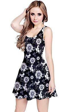CowCow Black & White2 Floral Sleeveless Skater Dress, Bla...