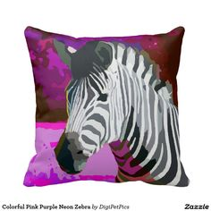 Colorful Pink Purple Neon Zebra Pillow