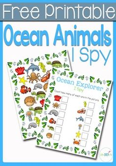 This Ocean Animals I Spy is the perfect introduction to an ocean theme for your preschoolers! Practice counting, matching, and visual discrimination while building language skills to familiarize them with words that they will be hearing during your ocean themed lessons.