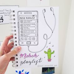 🙆🌵🎧🎶 🌵🌵 Today's spread is inspired by . Bullet Journal Work, Bullet Journal Tracker, Bullet Journal Aesthetic, Bullet Journal Ideas Pages, Bullet Journal Layout, Bullet Journal Inspiration, Music Journal, Chibi, Mood