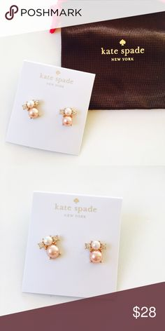 Brand new Kate Spade Pearl stud earrings Brand new super cute two tone Pearl stud earrings from Kate Spade. White and pink or brown pearls with small Crystal elements. Very delicate! kate spade Jewelry Earrings