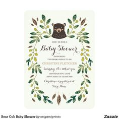 Bear Cub Baby Shower Card. Artwork designed by Origami Prints. Price $2.21 per card (1 invite.)