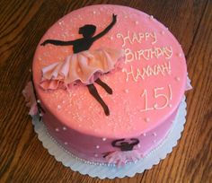 Ballerina Silhouette cake for the birthday girl Hannah! 8 inch round, 2 layer cake, iced in all buttercream with ballerina silhouettes and ruffled tutus made out of candy clay, sugar sprinkles and edible pearls! Finished with a sheer white ribbon!