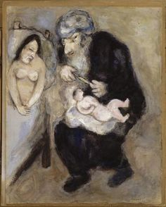 Circumcision prescribed by God to Abraham (Genesis, XVII, Marc Chagall Size: cm Medium: gouache, oil on paper Marc Chagall, Modigliani, Chagall Paintings, Jewish Art, Art Database, Naive Art, Art For Art Sake, French Artists, Les Oeuvres