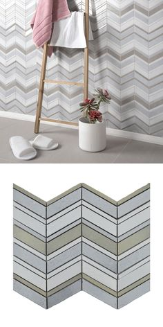 Made from glazed basalt, these Tephra Dusted Moon Chevron Mosaic Tiles are perfect for creating a feature wall or statement floor in your kitchen, bathroom, bedroom or living area! Their chevron design allows you to create a trendy display. Ceramic Mosaic Tile, Marbles, Bathroom Wall, Wall Tiles, Mosaics, Living Area, Chevron, Interior Decorating, Decorative Boxes