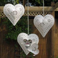 ~ Heart Lanterns ~ I'd use battery operated Tea Lights....