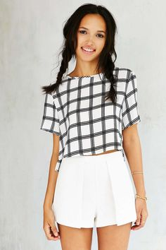 Glamorous Windowpane Cropped Top - Urban Outfitters