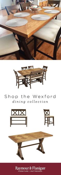 When family and friends gather, X marks the spot with the Wexford 6-piece dining set. From the X-back design of the stools and bench to the 2-tone inlaid pattern on the tabletop, the crisscross motif plays out in hickory veneers finished in mellow brown and warm oak. Upholstered seating in linen-blend fabrics and hardwood frame construction are details that enhance every gathering.
