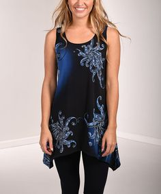 Look at this #zulilyfind! Black & Navy Blue Abstract Sleeveless Sidetail Tunic #zulilyfinds