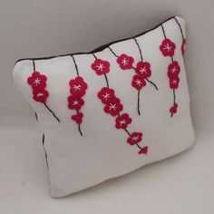 Pillow Cherry Blossoms - Eco Felt Cushion Cover - on Etsy. , via Etsy. Applique Pillows, Sewing Pillows, Diy Pillows, Decorative Pillows, Throw Pillows, Felt Crafts, Fabric Crafts, Sewing Crafts, Sewing Projects