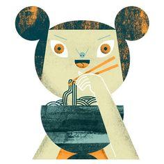 I love noodles! - Malota - www. Magazine Illustration, Woman Illustration, Retro Illustration, Fire Cover, Modern Retro, Textures Patterns, Great Artists, Illustrators, Animation