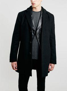 fe0eeb9a4ec5 Classic Black Wool Blend Overcoat - Men s Coats   Jackets - Clothing