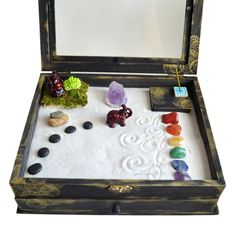 Zen Garden Meditation Box // MADE TO ORDER // Buddha Statue // Altar Kit // Metaphyscial Shrine // Wooden Box // Crystal Display // DiY Kit by NeonFoxArt on Etsy https://www.etsy.com/listing/400876001/zen-garden-meditation-box-made-to-order