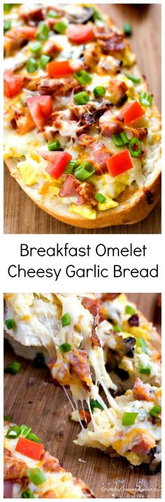 Breakfast Omelet Cheesy Garlic Bread - easy cheesy bread topped with scrambled eggs, bacon, ham, mushrooms, peppers and lots of cheese! Garnish with fresh tomatoes and green onions for a fun breakfast!
