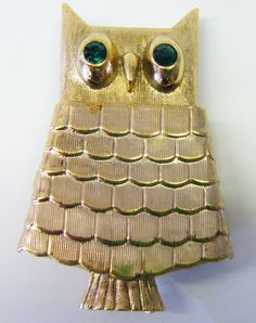 Vintage Green Eyed Owl Brooch With Hinged Perfume Pocket That Is Filled Still From Avon by parkledge on Etsy