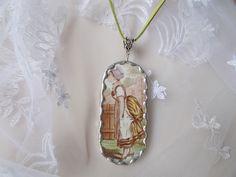 broken china jewelry antik fajansz kézműves medál, nyaklánc