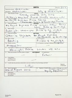 Prince George's Birth Certificate