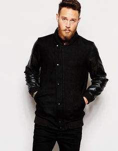 Image 1 of ASOS Wool Asymmetric Bomber Jacket In Black