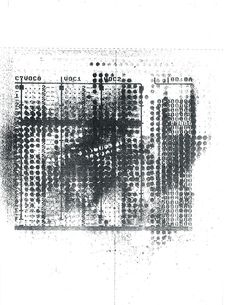 A Commodore 64 music software, overlayed with loom punch cards used as spray stencils, then faxed. From the performance Fax & Frankering For Folket, Copenhagen, 2011.