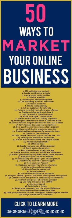 market your online business: 50 marketing tips and ideas to successfully make money as an online entrepreneur.to market your online business: 50 marketing tips and ideas to successfully make money as an online entrepreneur. Inbound Marketing, Marketing Digital, Affiliate Marketing, Marketing Website, Marketing Services, Marketing Online, Content Marketing, Internet Marketing, Marketing Strategies