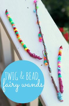 fairy wands made with twigs and beads. Such a fun forest fairy craft idea.