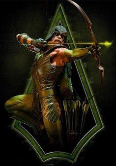 DC Comics Green Arrow Premium Format Figure by Sideshow Collectibles Dc Heroes, Comic Book Heroes, Comic Books Art, Comic Art, Arrow Comic, Queen Drawing, Arrow Black Canary, Arte Dc Comics, Gotham Comics