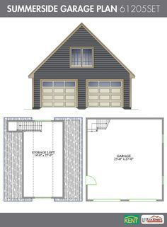Tilley garage plan 36 39 x 28 39 3 car garage 63205set for Two car garage plans with bonus room