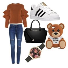 """school "" by kiiit-thy on Polyvore featuring adidas, MICHAEL Michael Kors, Moschino and Olivia Burton"
