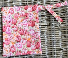 Tulip print drawstring storage bag - lined in co-ordinating pink fabric Handmade Home Decor, Etsy Handmade, Handmade Items, Handmade Gifts, Fabric Gifts, Pink Gifts, Pink Fabric, Craft Gifts, Personalized Gifts