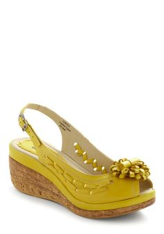 Sun in Your Step Wedge - Yellow, Solid, Flower, Woven, Casual, Spring, Rockabilly, Wedge, International Designer