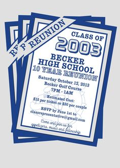 Tickets class reunion save the date cards are personalized with class reunion invitation customize with your school colors via etsy stopboris