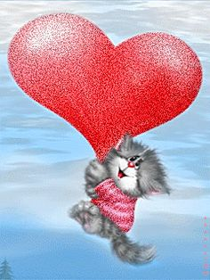"""Some kitty lovin' "" . Kitten Cartoon, Cute Cartoon, Crazy Cat Lady, Crazy Cats, I Love Cats, Cute Cats, Animated Heart, Photo Frame Design, Image Chat"