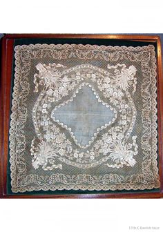 Exquistely hand-embroidered Danish wedding handkerchief ... c. 1750-80
